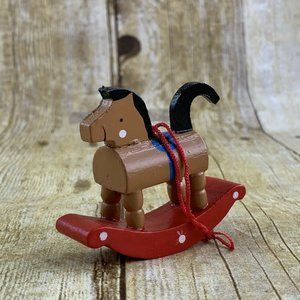 Rocking Horse Toy Ornament Brown Pony Wood